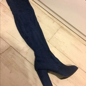Navy Over the Knee Heeled Boots